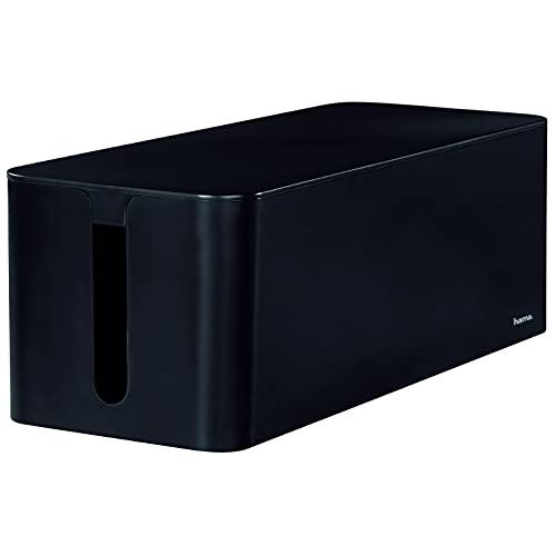 """Hama Kabelbox """"Maxi"""" mit Deckel & Gummifüßen (Organizer zur Vermeidung von Kabelsalat, Aufbewahrungsbox zum Verstecken von Steckdosenleisten, Adaptern & Kabeln, Schutz von Kindern & Tieren) schwarz"""