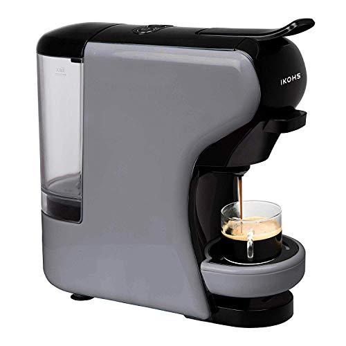 IKOHS Kaffeeautomat Espresso Italiano - Multikapselmaschine Nespresso 3 in 1, Kapsel Kaffemaschine, 1450 Watt, 19 Bar, einfache Zubereitung, platzsparend, Behälter 0,7 L, Grau