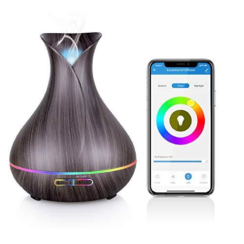 Alexa Aroma Diffuser, Maxcio Smart Ätherische Öle WLAN Luftbefeuchter 400ml, Kompatibel mit Alexa und Google Home, APP Steuerbar, Timer Funktion, 7-LED-Farbe und 2 Modi Für Schlafzimmer und Büro usw.