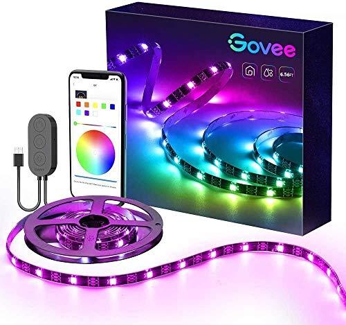 Govee RGBIC LED Strip, 2m LED Streifen Sync mit Musik, Wasserdichte USB LED Band mit App, 300 LEDs Flexibler LED Lesite für Deko Party