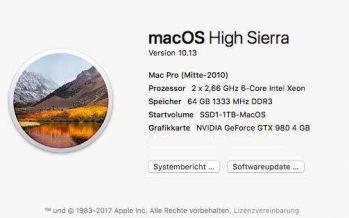 Mac OS High Sierra läuft
