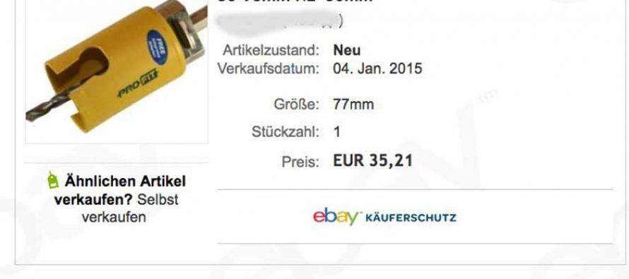Komische Lochsäge bei Ebay – Ein bisserl verscheißert – Beschiss mit Ritterrüstung?