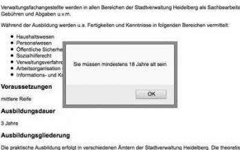 Wie alt sind Realschüler? Ausbildung bei der Stadt Heidelberg erst ab 18?