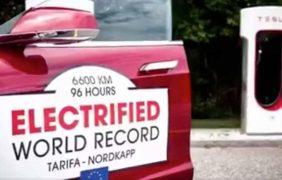 Frank Mischkowski auf Weltrekordfahrt – Tesla Supercharger